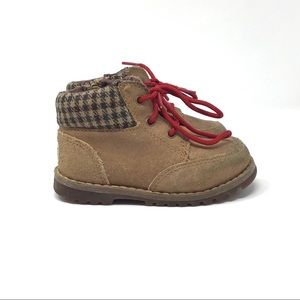UGG | Orin Oiled Suede Plaid Flannel Boots Tan 6